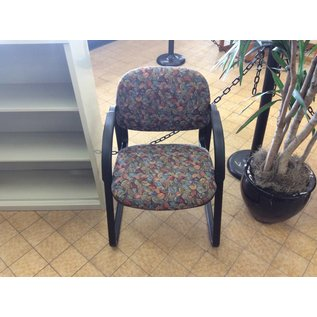 Colored Leaf Patterned Chair with Arm rest and metal frame