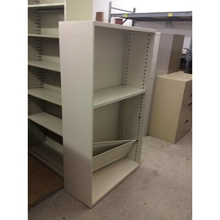 "15x36x64 1/2"" White Metal Bookcase"