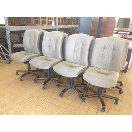 Beige High Back Desk Chairs w/Castors
