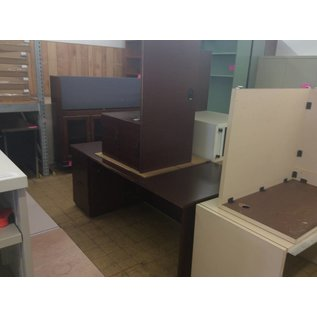36x72x29 Cherry Wood Desk w/Left Pedestal Right Return