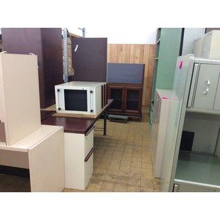 24 1/2x75x28 1/2 White Metal Desk w/Left Pedestal Right Return