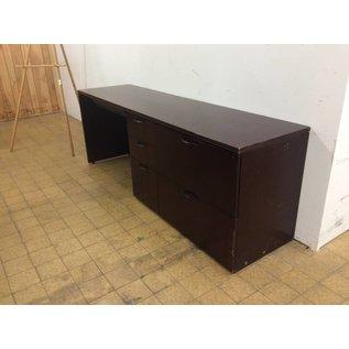 "22x84x24"" Cherry Wood Desk R/Ped./damaged corner (4/11/18)"