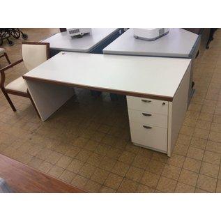 """30x70x28 1/4"""" White Wood R/Pedestal Desk (9/12/18)"""
