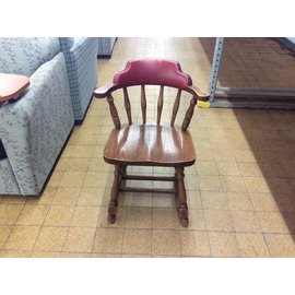 Wood Red Vinyl Padded Wood Side Chair (5/24/18)
