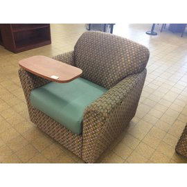 Patterned & Teal Lounge Chair w/Table on Castors (5/22/18)