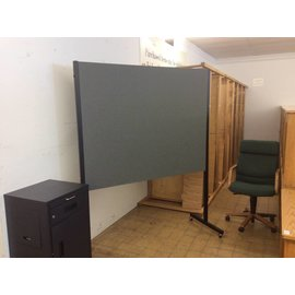 "63x72"" Grey And Black Bulletin Board on wheels  (6/6/18)"