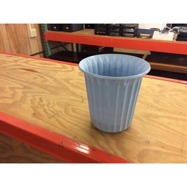 Blue round  plastic trash can (6/6/18)