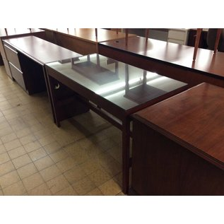 "24x48x29 1/2"" Wood Table w/ Glass (6/12/18)"