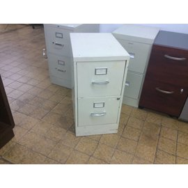 "22x15x29"" Beige 2 Drawer Metal File Cabinet (6/22/18)"