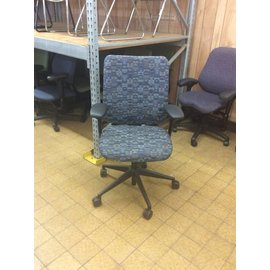 Blue Patterned Desk Chair w/ arms and castors (6/18/18)