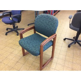 Green pattern wood frame Side Chair (6-18-18)