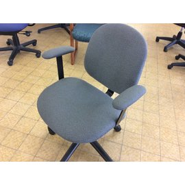 Grey padded Desk Chair with arms & castors (6-18-18)