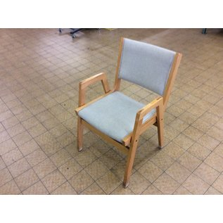 Wood frame beige padded side chair (6-21-18)