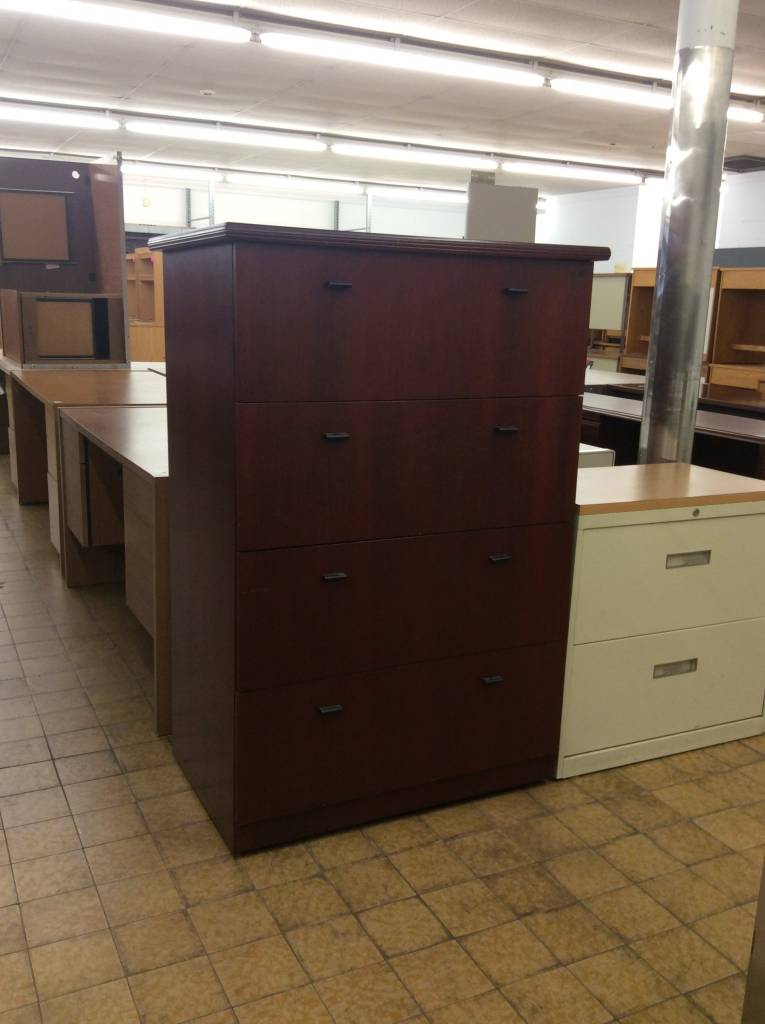 24x36x53 1 2 Cherry Wood 4 Door Lateral File Cabinet 6 25 18