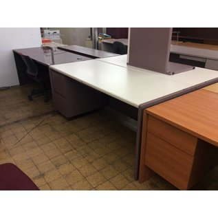 30x70x30 Muave White Top L ped Desk (6/25/18)
