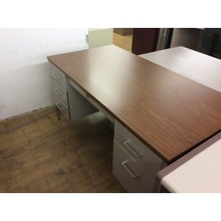 "30x60x29"" Lt Grey dbl ped metal desk w/wood top (7/11/18)"