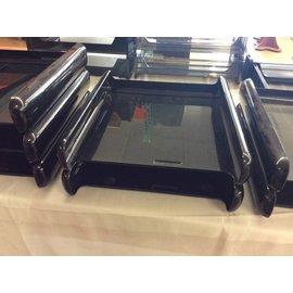 Black plastic 2 tier paper tray (7-25-18)