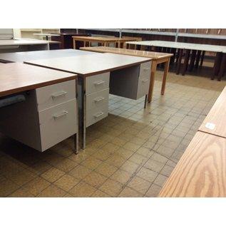 """30x60x29 3/4"""" Wood Top Gray dbl ped metal desk (7/31/18)"""