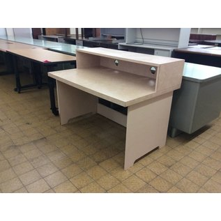 "30 1/4x47 1/2x35 3/4"" Tan Wood Computer Desk (8/8/18)"