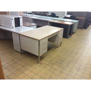"""30x60x29"""" Tan Metal Double Pedestal Desk (9/13/18)"""