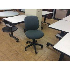 Blue green multi patterned desk chair on castors (8/15/18)