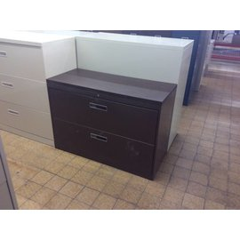 "18x42x29"" Wood Top Brown Metal 2 Drawer Lateral File(9/12/18)"
