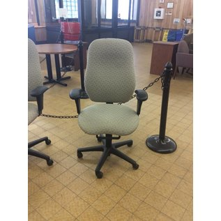 Beige Patterned Desk Chair w/ arms and castors (9/13/18)