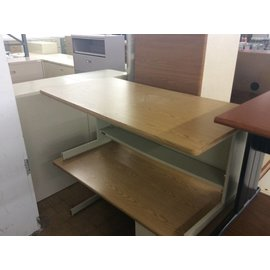 "30x60x27"" beige metal table (9/13/18)"