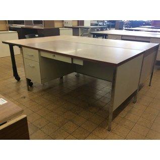 """30x60x29"""" Left Pedestal Beige Metal Desk (8/14/18)"""