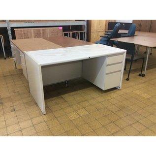"""30x60x30"""" White Metal Right Pedestal Desk (9/20/18)"""