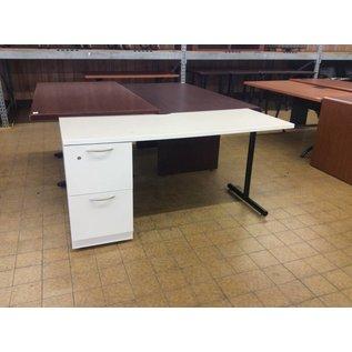 "23 1/2x60x29"" White top metal Left Pedestal Desk (9/20/18)"