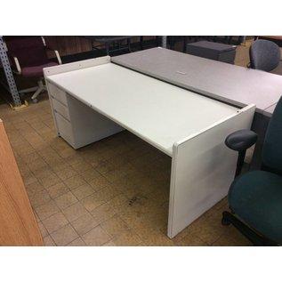 """30x70x30"""" white metal L/pedestal desk (9/27/18)"""