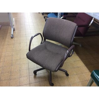 Brown padded desk chair w/arms & castors (10-10-18)