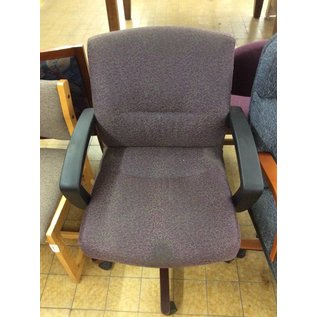 Purple patterned desk chair w/arms & castors-stained 10/16/18
