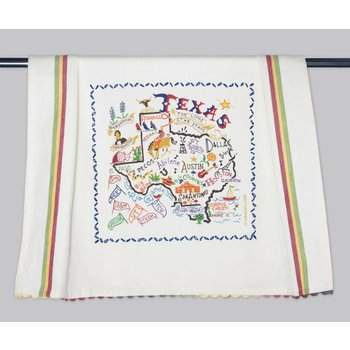 Texas Traditions This design is silk screened and framed with a hand embroidered border on a 100% cotton dish towel. Three stripes down both sides and hand dyed rick-rack at the top and bottom add a charming vintage touch. Machine wash and dry.