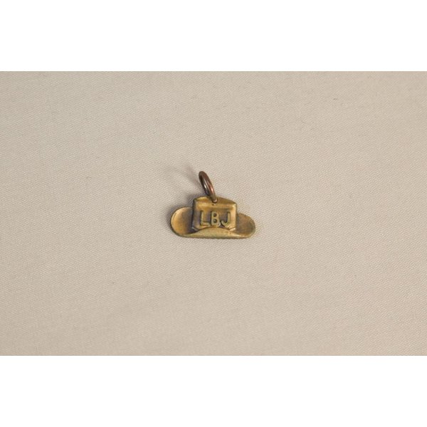 All the way with LBJ ORIGINAL 1964 BRASS LBJ HAT CHARM WITHOUT CHAIN
