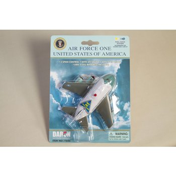 Just for Kids This stylized aircraft features electronic jet sound and flashing red lights, activated by the push of a button on top of the fuselage! Pull the plane back and let it go forward in the take-off position. Batteries included.