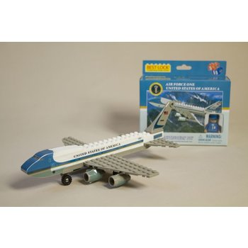 Just for Kids Air Force One construction block kit includes 55 pieces and is interchangeable with other leading brands. Ages 5+