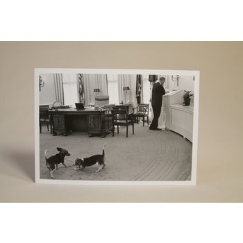 All the way with LBJ Black and white postcard of President Johnson in the Oval Office with his famous beagles Him and Her.