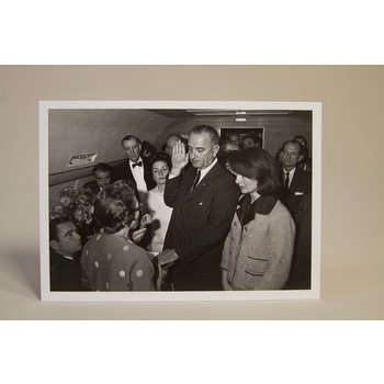 All the way with LBJ Historic black and white postcard depicts the first inauguration of Lyndon B. Johnson as the 36th President of the United States on November 22, 1963 under extraordinary circumstances, following the assassination of President John F. Kennedy.