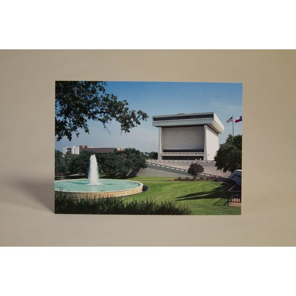 Full color postcard of the LBJ Presidential Library on the University of Texas, Austin campus.