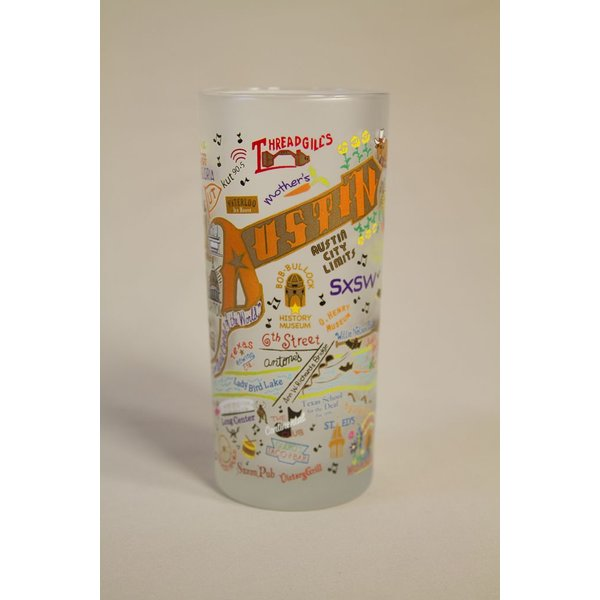 Texas Traditions HAND PAINTED AUSTIN GLASS TUMBLER