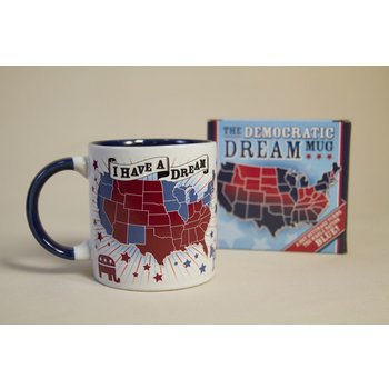 Patriotic Ceramic mug holds 16 oz. This large ceramic mug depicts the United States divided into red states (GOP leaning) and blue states (Democrat leaning). But when you pour hot liquid in, something miraculous occurs all of the red states turn blue!