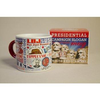 Patriotic Ceramic mug holds 16 oz. Twenty-nine classic campaign slogans on one mug - from Adelai to Zachary!