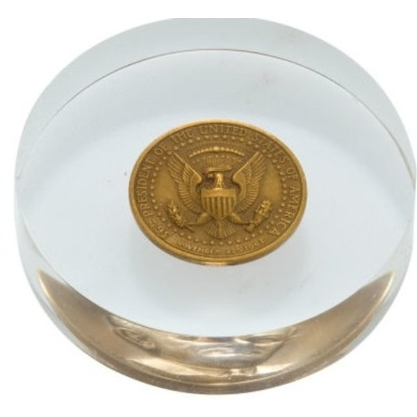 ORIGINAL 1964 JOHNSON COIN PAPERWEIGHT
