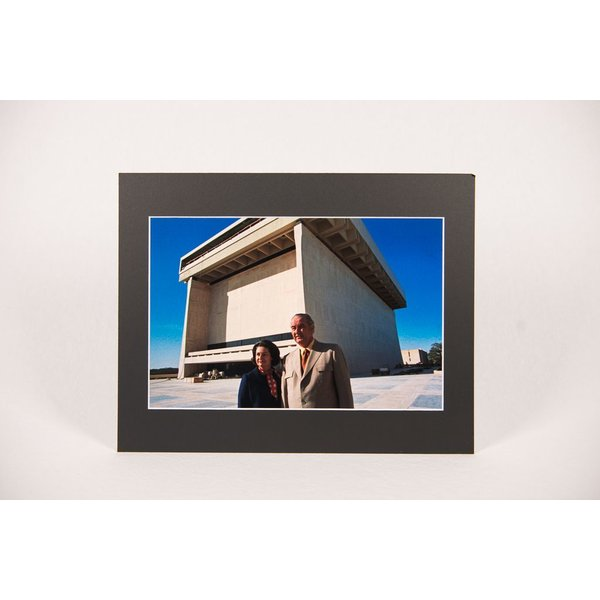 All the way with LBJ 11x14 MATTED PHOTO LBJ/LADY BIRD AT LIBRARY