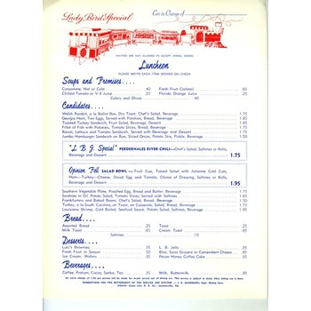 ORIGINAL JOHNSON LADY BIRD SPECIAL LUNCH MENU - 1964