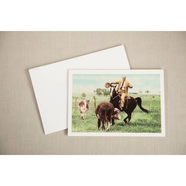 LBJ CATTLE ROPING 1964 DEMO VICTORY NOTECARD