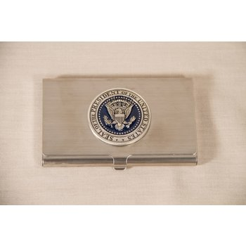 Patriotic PEWTER DETAIL PRESIDENTIAL SEAL BUSINESS CARD HOLDER