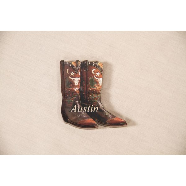 "Texas Traditions Vintage style acrylic magnet shaped like a cowboy boot and text ""Austin."""